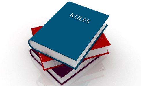 rule books blue red